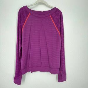 Lululemon Longsleeve Womens Activewear Top Purple Semi-Sheer Striped Logo